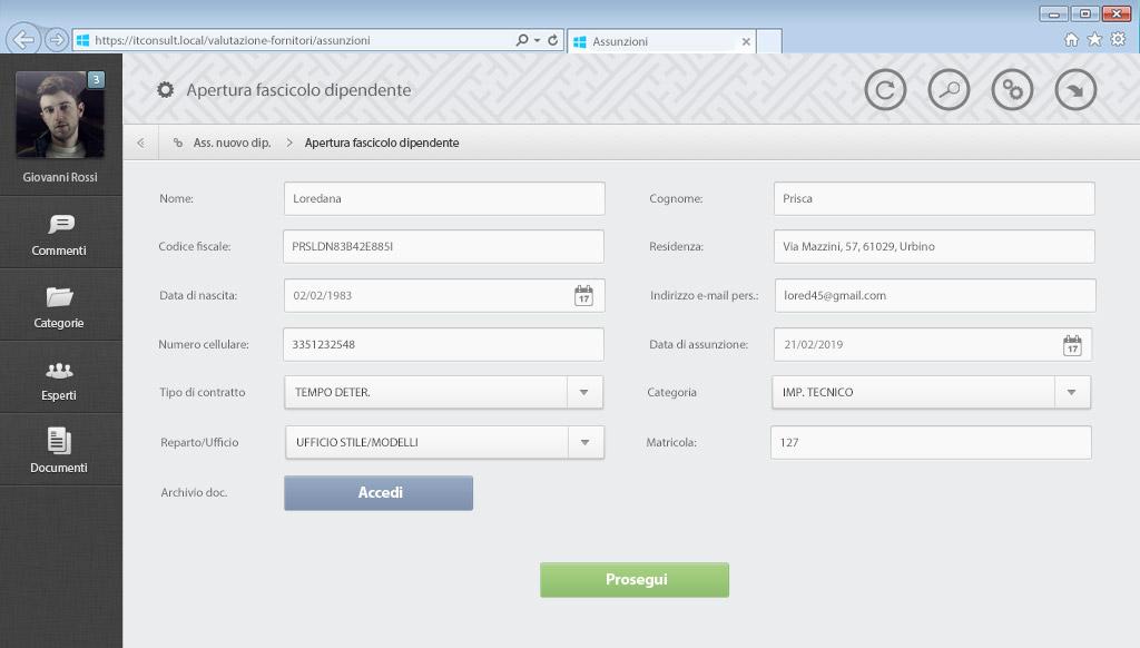 Fascicolo dipendente - Software josh - it consult